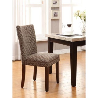 Modern Parson Blue/ Chocolate Damask Diamond Fabric Dining Chair