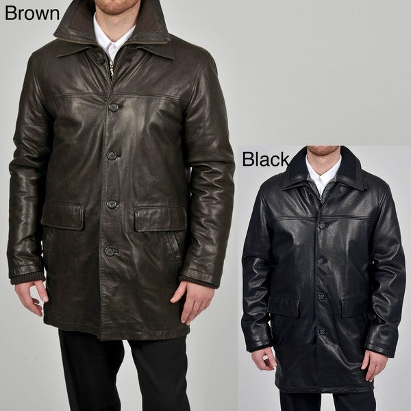 Tibor Design Men's 3/4-length Double Collar Leather Coat