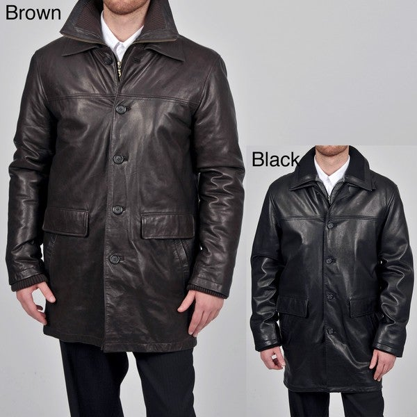 Tibor Design Men's Big & Tall 3/4-length Double Collar Leather Coat