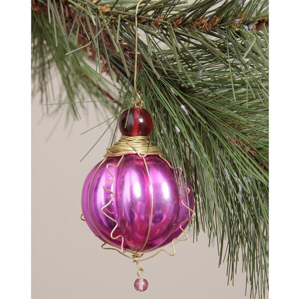 Fuschia Round Glass Kugel Ornament (India)