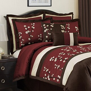 Lush Decor Cocoa Flower Red Full-size 8-Piece Comforter Set