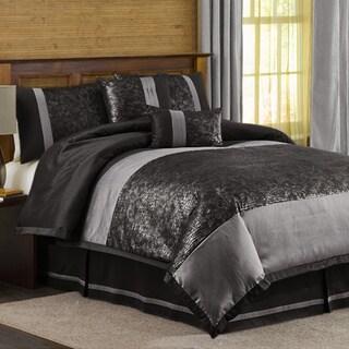 Lush Decor Metallic Animal Black/ Silver 6-piece Full-size Comforter Set