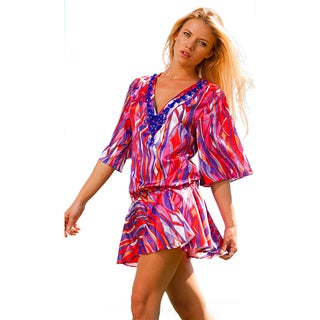 Rachel Lym Women's Beaded V-neck Kimono Swim Cover