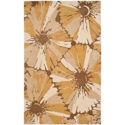 Handmade New Zealand Wool Floral Brown Rug (7'6 x 9'6)