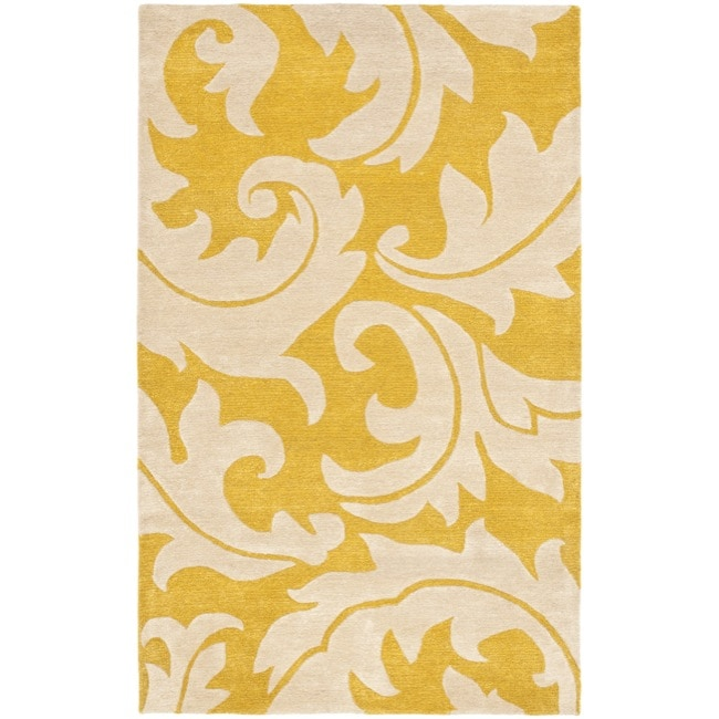 Safavieh Handmade Soho Gold/ Ivory New Zealand Wool Rug (6' x 9')