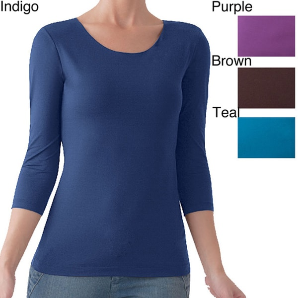 Illusion Microfiber 3/4-Length Sleeve Scoop Neck Top