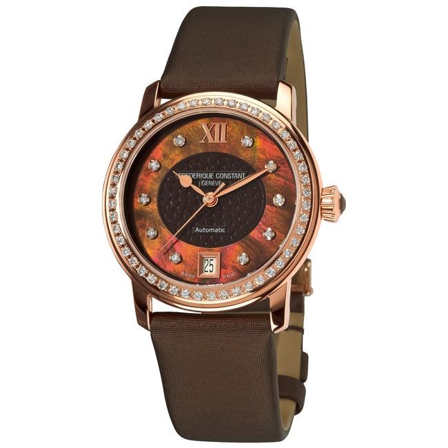 Frederique Constant Women's FC-303CHD2PD4 'Automatic' Satin Strap Diamond Watch