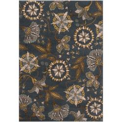 Meticulously Woven Contemporary Sea Blue Floral Dogwood Rug (2'2 x 3')