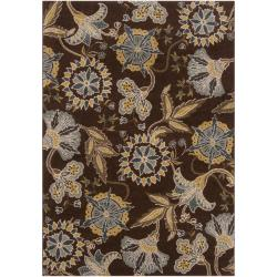 Meticulously Woven Contemporary Brown Floral Lilac Rug (2'2 x 3')