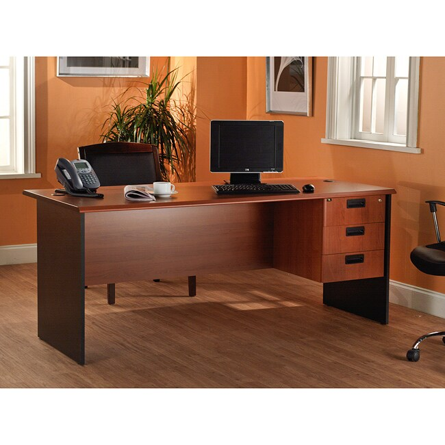 Simple Living Lee and Smith Black/Cherry Three-drawer Office Straight Desk