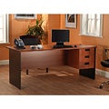 Lee and Smith Black/Cherry Three-drawer Office Straight Desk