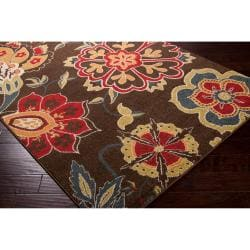Meticulously Woven Contemporary Brown Floral Lily Rug (2'2 x 3')