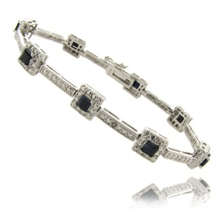 Dolce Giavonna Silverplated 2 3/4ct TW Sapphire and Diamond Accent Square Bracelet