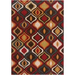Meticulously Woven Contemporary Red/Brown Medallion Magnolia Abstract Rug (2'2 x 3')