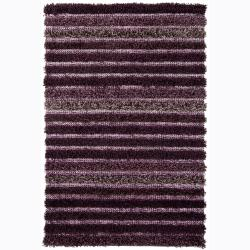 Handwoven Striped Casual Mandara Shag Rug (9' x 13)
