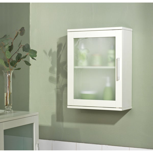 Simple Living Antique White Frosted Pane Wall Cabinet 13975952