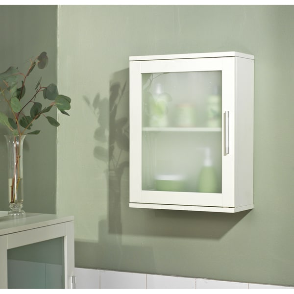 Bathroom Wall Cabinets Simple Living Antique White Frosted Pane Wall