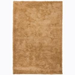 Handwoven Warm Beige Mandara Shag Rug (7'9 x 10'6)