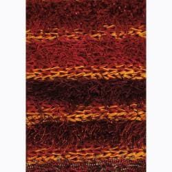 Handwoven Warm Striped Mandara Shag Rug (9' x 13')
