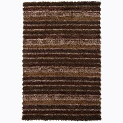 Handwoven Multicolor  Polyester Striped Mandara Shag Rug (5' x 7'6)