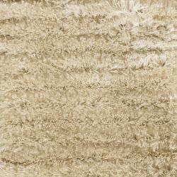 Handwoven White Wool Blend Mandara Shag Rug (2'6 x 7'6)
