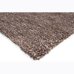 Handwoven Deep Gray Mandara New Zealand Wool Shag Rug (7'9 x10'6)