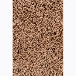 Handwoven Coffee-Brown Mandara Shag Rug (7'9 x 10'6)