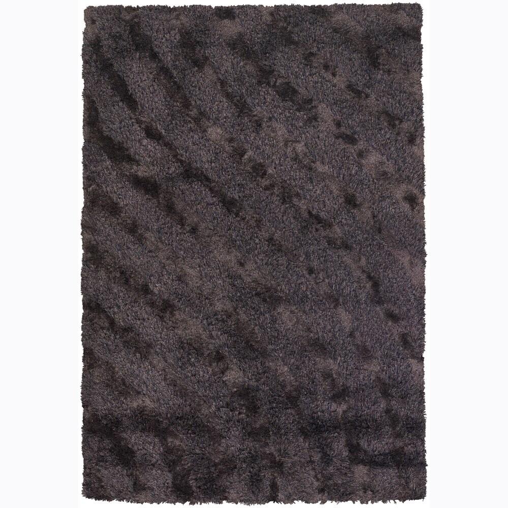 Handwoven Beige/Purple/Brown Mandara Shag Rug (5' x 7'6)