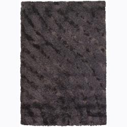 Handwoven Beige/Purple/Brown Mandara Shag Rug (5' x 7'6)
