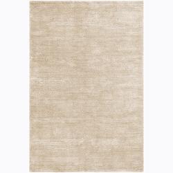 Handwoven White Wool Blend Mandara Shag Rug (9' x 13')
