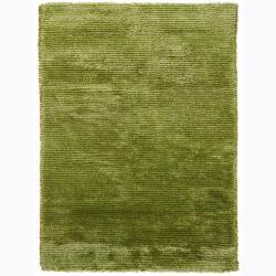 Handwoven One-Inch Bright Green Mandara Shag Rug (9' x 13')
