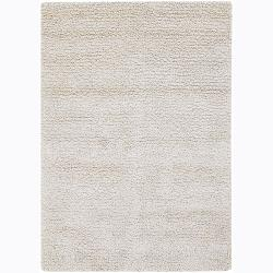 Handwoven White Mandara New Zealand Wool Shag Rug (7'9 x 10'6)