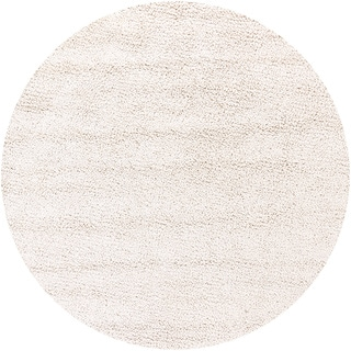 Handwoven White Mandara New Zealand Wool Shag Rug (7'9 Round)