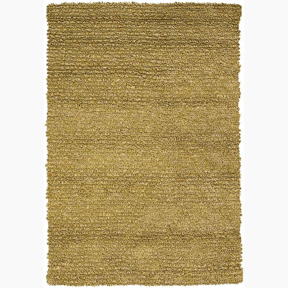 Handwoven 1.5-Inch Yellow Mandara New Zealand Wool Shag Rug (7'9 x 10'6)