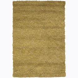 Handwoven 1.5-Inch Yellow Mandara New Zealand Wool Shag Rug (7'9 x 10'6)