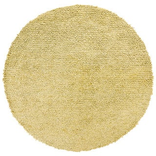 Handwoven Yellow Mandara New Zealand Wool Shag Rug (7'9 Round)