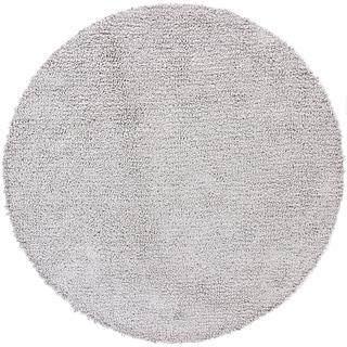 Handwoven Light Gray Mandara New Zealand Wool Shag Rug (7'9 Round)