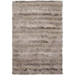 Handwoven Brown/Beige Striped Mandara Shag Rug (9' x 13')