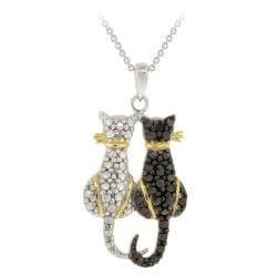 DB Designs Tri-color Black Diamond Accent Two Cats Necklace