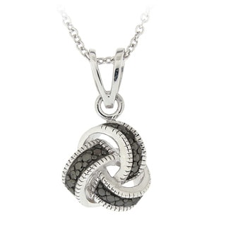 DB Designs Sterling Silver Black Diamond Accent Knot Necklace