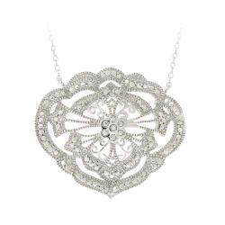DB Designs Sterling Silver White Diamond Accent Medallion Necklace