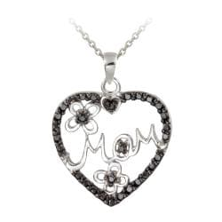 DB Designs Sterling Silver Black Diamond Accent 'MOM' In Heart Flower Necklace