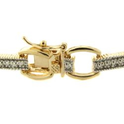 Finesque 14k Gold Overlay Diamond Accent Bar Link Bracelet
