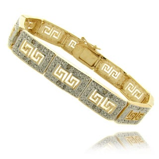 Finesque 14k Gold Overlay 1/4 ct TW Diamond Greek Key Design Bracelet