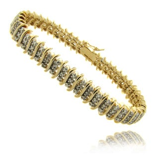 Finesque 14k Gold Overlay 1/4 ct TW Diamond Three Row 'S' Bracelet