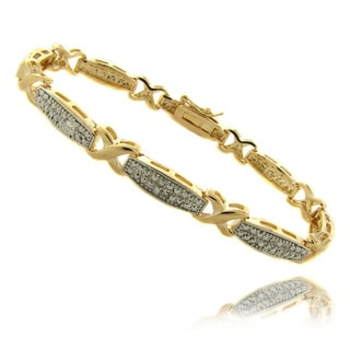 Finesque 14k Gold Overlay Diamond Accent 'X' Bar Bracelet