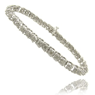 Finesque Silver Overlay 1 ct TW Diamond Tennis Bracelet