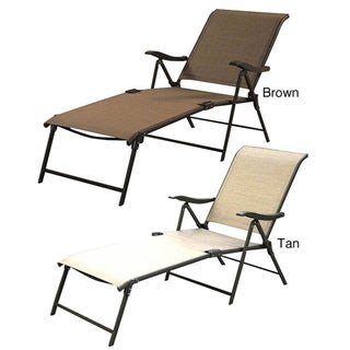 Outdoor Patio Sling Folding Lounger (Set of 4)