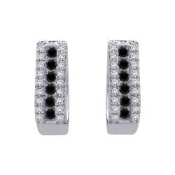 10k White Gold 1/2ct TDW Black and White Diamond Hoop Earrings (G-H, I2-I3)