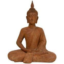 """24"""" Thai Sitting Zenjo-in Iron Look Buddha Statue (China)"""